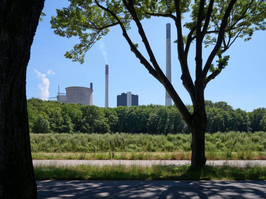 Kraftwerk Scholven, Gelsenkirchen, von der Kirchhellenstraße gesehen, einst das größte Kraftwerk Westdeutschlands